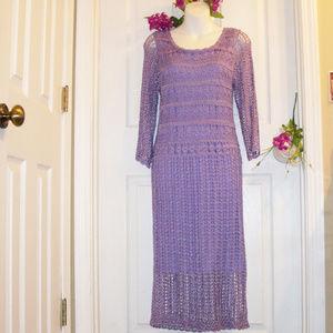 SAINT TROPEZ WEST Purple Crochet Overlay Dress